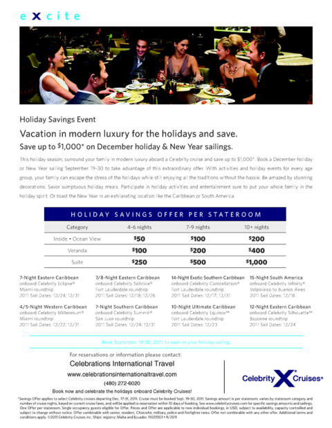 Savings on Holiday 2011 Sailings Onboard Celebrity Cruises